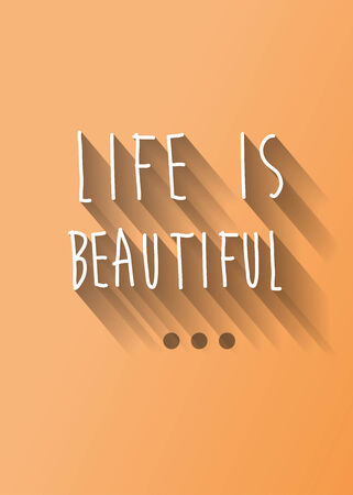 Life is beautiful typo with shadow vector, wedding theme Vector