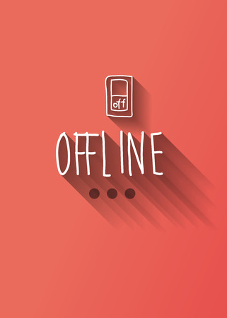 offline: offline typo with shadow vector