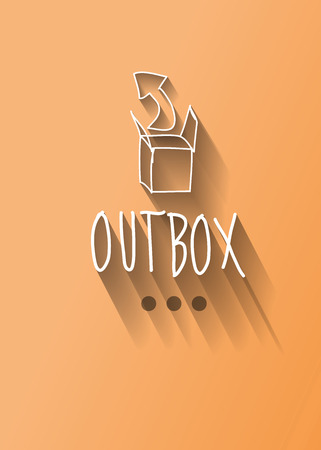 outbox: outbox typo with shadow vector