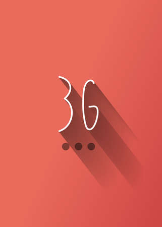 3g: 3g typo with shadow vector Illustration