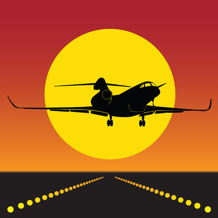 takeoff: plane takeoff in silhouette 0100 Illustration