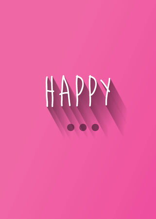 background card: happy typography with shadow vector, Eps 10 Illustration