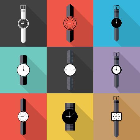 wrist watch: Set of Watch icon. Flat design vector. Illustration