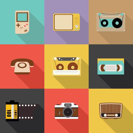 old television: Retro icon, Flat design vector,Eps 10 Illustration