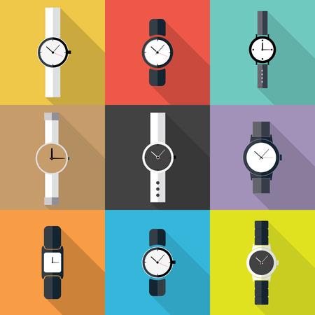 Set of Watch icon. Flat design vector. Illustration