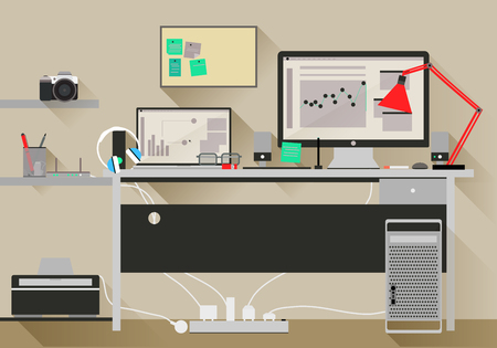 office environment: Flat design vector modern office interior, Eps 10