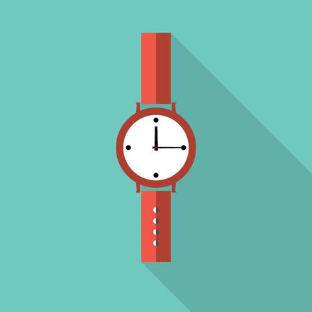 wrist: Watch icon. Flat design vector.