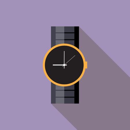 wrist watch: Watch icon. Flat design vector.