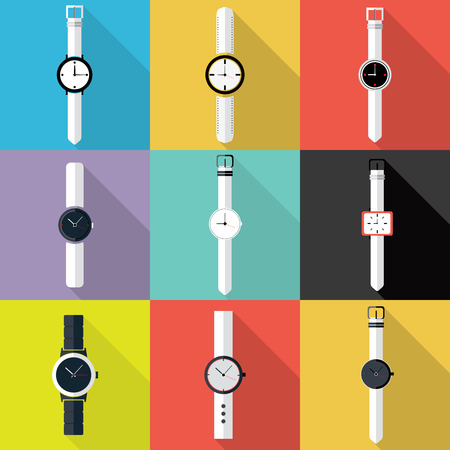 wristwatch: Set of Watch icon. Flat design vector. Illustration
