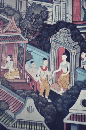 art: Art walls at temple in thailand
