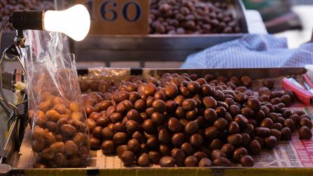 street market: Roast chestnut from street market with pricetag