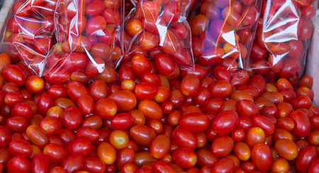street market: red cherry tomatoes from street market