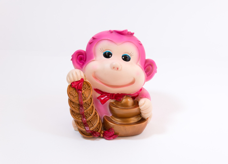 represent: a figure represent chinese new year in the year of monkey with word represent long live, prosper and good luck Stock Photo