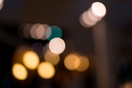 subjective: A background of light bulb with soft blur light form a beautiful bokeh. Picture was shot in the night. Creamy and romantic Stock Photo
