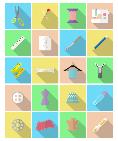 Easy-To-Use 20 Flat Sewing Icons Designed as Colorful Pastel Theme
