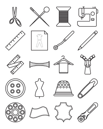 Easy-To-Use 20 Line Sewing Icons Designed as Black and White Theme Stock fotó - 78908170