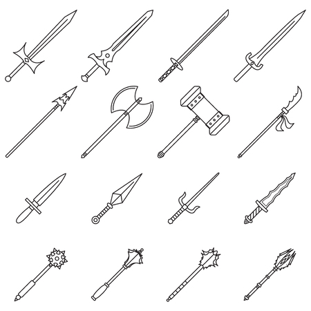 16 Easy-To-Use Weapon Line Icons Designed as Sharp-Edged Arms For Closed Combat
