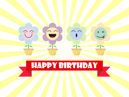 Cute Pastel Flower Emoji Happy Birthday Card Designed as 4 Happy Cartoon Facial Expressions, Smile, Laugh, Ho Ho, Wink. Useful For Happy Birthday Blessing, Delight & Fun Occasion And Emotional Reaction Of Enjoyment. Illustration