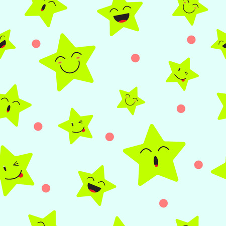Cute Star Emoji Seamless Pattern Background  Designed as 4 Happy Facial Expressions, Smile, Laugh, Ho Ho, Wink. Useful For General Delight & Fun Cartoon And Emotional Reaction Of Enjoyment. Illustration