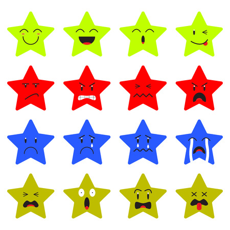 Cute Star Emoji on White Background  Designed as 4 Groups Of Facial Expressions, Happy, Angry, Sad, Frightened. Useful For General Cartoon Face And Emotional Reaction.