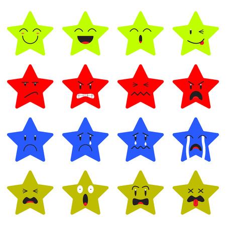 Cute Star Emoji sobre fondo blanco Diseñado como 4 grupos de expresiones faciales, feliz, enojado, triste, asustado. Útil para cara de dibujos animados en general y reacción emocional. Ilustración de vector