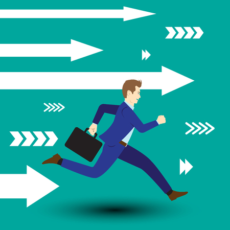 Business Opportunity Concept Designed As A Businessman Is Running Forward In High Speed Along With White Arrows. He Is Straight To New Opportunity With Full Motivation, Attempt, And Encouragement. Illustration