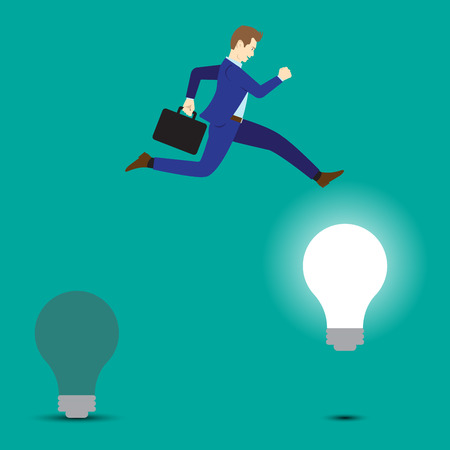 Business Concept As A Businessman Is Highly Jumping Up From A Dark Light Bulb To A Bright One. It Means Changing From Old Idea To The New One Including Creativity, Innovation, And Improvement.