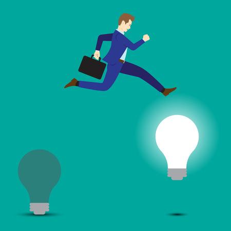 Concept d'affaires comme un homme d'affaires est fortement sauter d'une ampoule sombre à un brillant. Cela signifie changer de vieille idée à la nouvelle, y compris la créativité, l'innovation et l'amélioration. Vecteurs