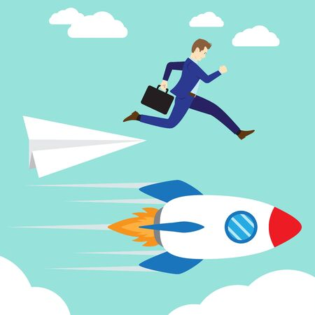 Business Concept As A Businessman Is Jumping Down From A Paper Rocket To A Rushing Real Rocket. Illustration
