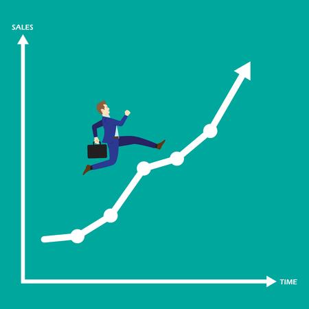 実業家としてのビジネス コンセプトは、成長線グラフで実行しています。彼は、やる気満 々 ・励ましと機会の新たな成長を楽しんでいます。売り