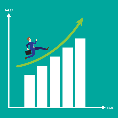 Business Concept As A Businessman Is Running On Growth Bar Graph. He Is Enjoying The New Growth Of Opportunity With Full Motivation &  Encouragement. Higher Sales Corresponds With Time Passes By. Illustration