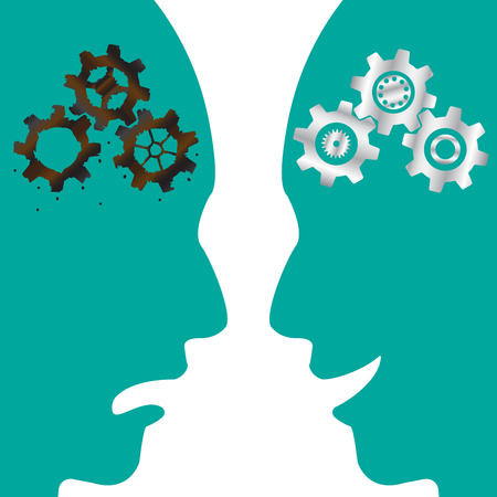 Business Concept As Cogwheel Brains (Rusty & New) Inside Silhouette Faces With Angry & Smile Expressions. It Means Obsolete Thinking Process Versus Innovative One.