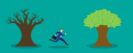 실업가 죽은 나무에서 돈 나무를 실행으로 비즈니스 개념. 그것은 만료  쓸모없는 산업에서 출발하여 번영 한 것을 수확하기 시작합니다.