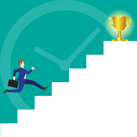 Business Concept As A Businessman Is Running On White Stairs To A Glitter Gold Trophy On Top And A Big Clock As Background. It Means Trying To Achieve The Ultimate Goal By Competing With Time. Illustration