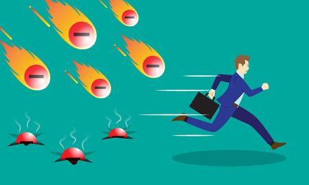 Un Hombre De Negocios Está Corriendo Apresuradamente De Los Meteoros Que caen Cometas De La Negatividad Con El Fuego.