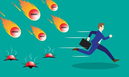 A Businessman Is Running Hurriedly From Falling Meteors Comets Of Negativity With Fire.