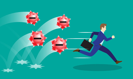 Business Concept As A Businessman Is Running Hurriedly From Bouncing Red Negativity Spiky  Steel Balls. It Means Trying To Avoid Dangerous Negative Attitudes From The Others.