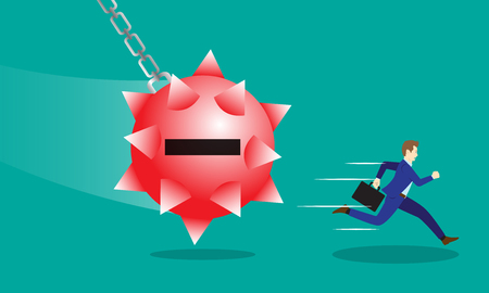 Business Concept As A Businessman Is Running Hurriedly From A Swinging Red Negativity Spiky Steel Wrecking Ball. It Means Trying To Avoid Dangerous Negative Attitude From The Other. Illustration