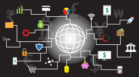22 Fintech 아이콘 검은 배경과 여러 통화, 루피, 유로, Bitcoin, 파운드, 달러, 엔, 금융 기술에 참여하는 빛나는 라인 글로브 주위.