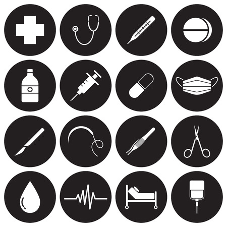 Vector Easy-To-Use 16 White Medical Flat Icons