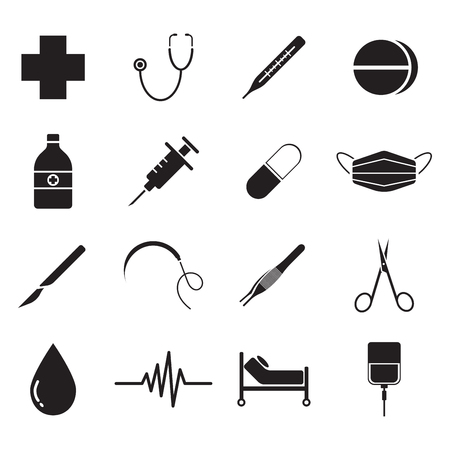 Vector Easy-To-Use 16 Black Medical Flat Icons 矢量图像