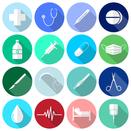 Vector Easy-To-Use 16 White Medical Flat Icons In Front Of Colorful Circles On White Background.