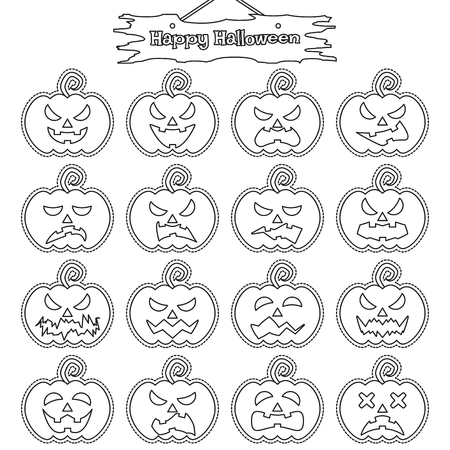 Vector Easy-To-Use 16 Line Emoticons Of Pumpkin As Sticker Different Facial Expressions On White Background With  Happy Halloween Plank Hung Above For Scary & Funny Facial Reactions