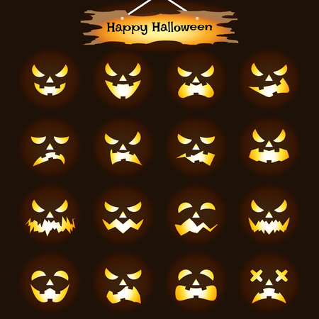 Vector Easy-To-Use 16 Flat Emoticons Of Jack O Lantern Facial Expressions As Glowing CandleFlame  Inside Pumpkin Heads On Black Background With  Happy Halloween Plank For Scary & Funny Reactions