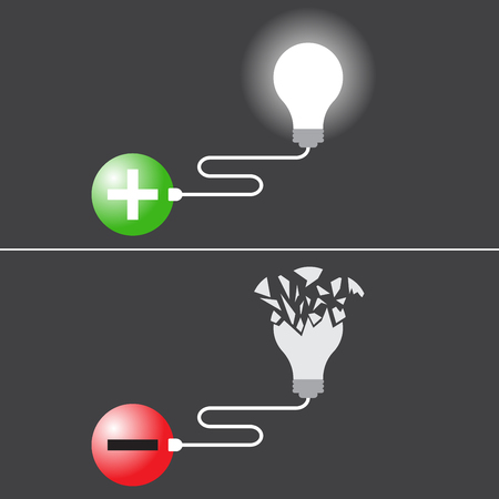 Business Concept As Bright Light Bulb Plugs In Positive Symbol Means Idea Is Created From Optimistic Attitude. Broken One Plugs In Negative Symbol Means Idea Is Destroyed By Pessimistic Attitude