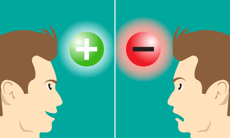 opinion: Business Concept As A Smiling Man Stares At Positive Symbol Means Optimistic Attitude Makes Good Emotion. A Frown Man Stares At Negative Symbol Means Pessimistic Attitude Makes Bad Emotion.