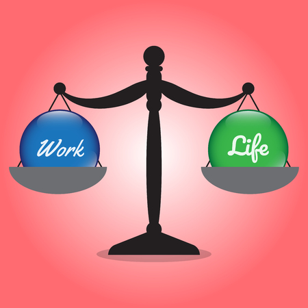 polished: Vector Business Concept As Illustration Of Black Scale Is Weighing Blue Work Crystal Ball On The Left And Green Life Crystal Ball On The Right Equally On Red Background Represent Work Life Balance.