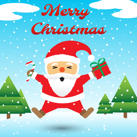 Vector Illustration Of Merry Christmas, Red Chubby Santa Claus Is Holding A Candy Cane And A Gift Box And Jumping Happily Among Snow On Icy Ground With Blue Background And Christmas Trees