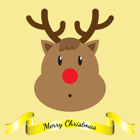 Vector Illustration Of Merry Christmas, Isolated Brown Reindeer Face Cute Expression Including Shinning Yellow Ribbon On Light Yellow Background As Greeting Card For Happy Winter And Holiday