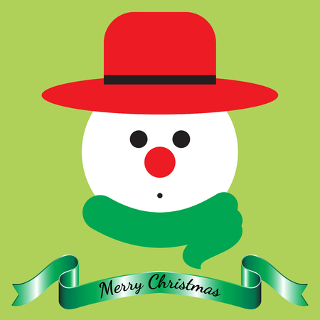 Vector Illustration Of Merry Christmas, Isolated Snowman Face Wearing Hat And Scarf Cute Expression With Shinning Green Ribbon On Light Green Background As Greeting Card For Happy Winter And Holiday